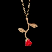 Red Rose Golden Pendant Necklace