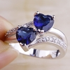 Blue Topaz Hearts Silver Ring - Size 7