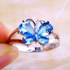 Exquisite Blue Topaz Butterfly Silver Ring