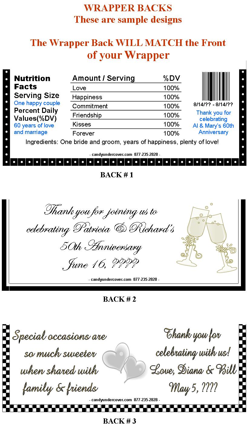 Anniversary Candy Bars - Anniversary Candy Bar Wrappers - Wedding ...