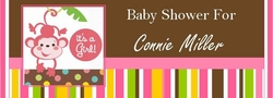 BAS-22CW Pink Monkey Baby Shower Candy Bars