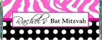 BAT-05CW Pink Zebra Print Bat Mitzvah Candy Bars