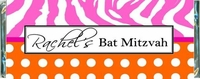 BAT-06CW Pink & Orange Zebra Theme Bat Mitzvah Bars