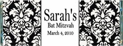 BAT-12CW Elegant Black Damask Bat Mitzvah Wrappers
