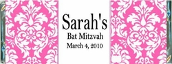 BAT-14CW Pink Damask Bat Mitzvah Candy Wrappers