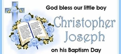 CHWBL-04 Blue Cross and Bible Christening / Baptism Water Labels