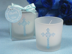 Blue Cross Candle Holder