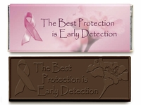Breast Cancer Ribbon Chocolate Candy Bar for Breast Cancer Awareness (Case of 50)