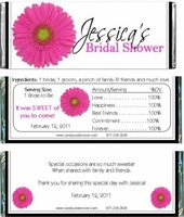 BS-01CW Pink Gerber Daisy Bridal Shower Candy Bars