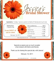 BS-02CW Orange Gerber Daisy Candy Wrappers