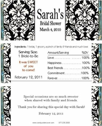 BS-21CW Damask Bridal Shower Candy Bars
