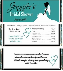 BS-35CW Teal Bride Candy Bar Wrappers