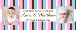 CH-015CW Twins Baptism Candy Bar Wrappers (can be 2 boys or 2 girls)