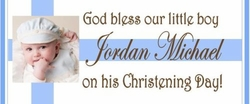 CH-24CW Boy Photo Baptism / Christening Candy Bar Favors