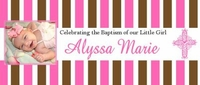 CH-11CW Pink & Brown Baptism / Christening Candy Bar Favors