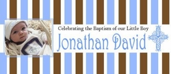 CH-12CW Blue & Brown Stripe Christening / Baptism Wrappers