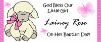 CH-21CW Pink Lamb Christening / Baptism Candy Bar Wrapper