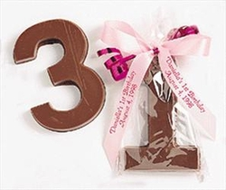 Chocolate Number Favors with Personalized Ribbon