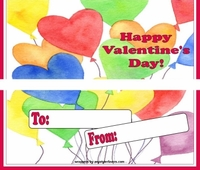 VAL12 - Colorful Hearts Valentine Candy Bar Wrapper