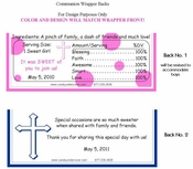 COM-015 Pink Cross Communion Candy Bar Wrapper