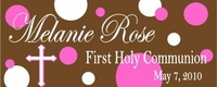 COM-11 Hot Pink & Brown Dots First Communion Candy Bars