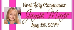 COM-17 Hot Pink Photo Communion Candy Wrapper