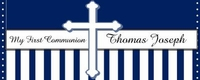 COM-23CW Navy & White Stripe First Communion Candy Bars