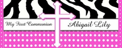 COM-24 Pink Dot Zebra Print Communion Wrapper