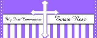 COM-26CW Lavender & White Stripe First Communion Wrapper