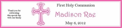 COM-31 Pink Cross First Communion Water Bottle Label