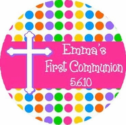 COM02L - Hot Pink Dots Communion Lollipops