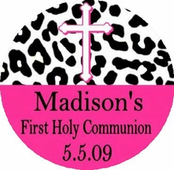 COM09T - Black and Hot Pink Animal Print Communion Tin