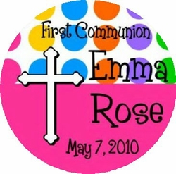 COM10L - Hot Pink Dot First Communion Lollipop Favor