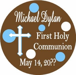 COM12L - Blue & Brown Dot Communion Lollipop Boy