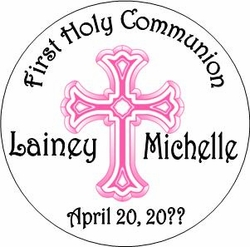 COM31L - Pink Cross First Communion Lollipop Girl