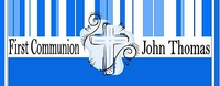 COM37CW - Blue Stripe Cross Communion Candy Bar