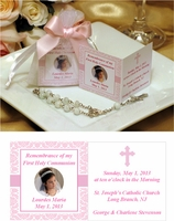Communion Remembrance Prayer Card  with Rosary in Organza Bag Favors