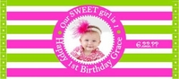 FB28 - Pink and Green Photo Candy Bar Wrapper