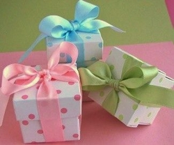 First Communion Polka Dot Favor Boxes