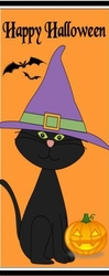 HAL22CW - Black Cat with Witches Hat Candy Bar Wrappers