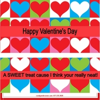 VAL02 - Hearts all in a Row - Valentine's Day Candy Bars and Wrappers