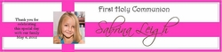COM-17 Hot Pink First Communion Photo Water Bottle Label