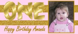 FB43 - Pink & Gold 1st Birthday Candy Bar Wrapper