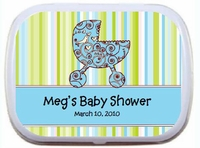 Paisley Blue Baby Carriage - Personalized Mint Tin