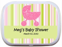 Paisley Pink Baby Carriage - Personalized Mint Tin