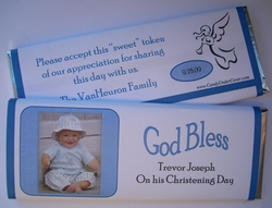 Personalized Candy bar Wrapper for Christenings - Photodrop Blue