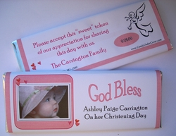 Personalized Candy bar Wrapper for Christenings  - Photodrop Pink
