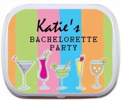 Personalized Mint Tins - Cocktails and Pastel Stripes Design