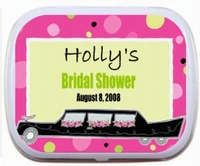 Personalized Mint Tins - Pink Polka Dot Limo Design