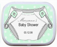 Personalized Mint Tins - Polka Dot Diapers (green, blue or pink)